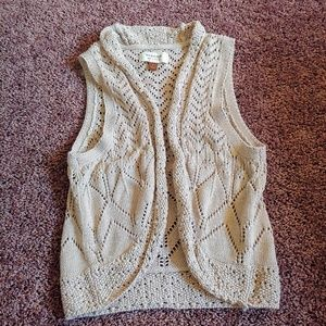 Sonoma cream knitted open front vest